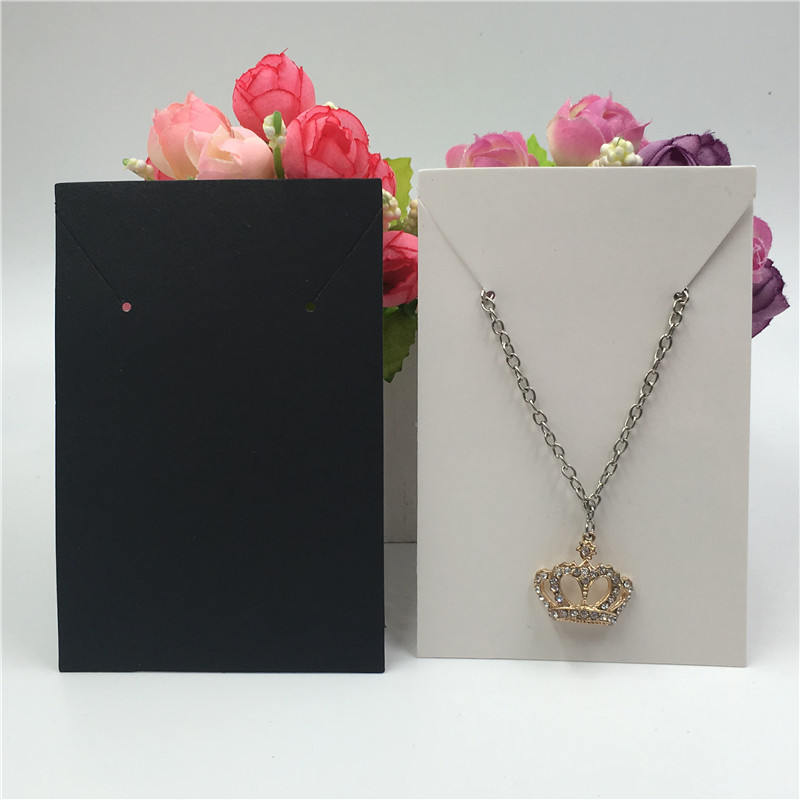 Brown/Black/White Paper Cardboard Necklace&Earrings Display Paper Cards Jewelry Show Packaging Card 11.4x7.5cm Accept Custom 24P