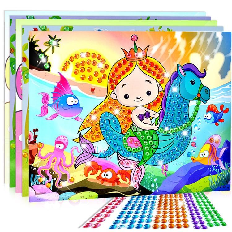 1pc Cartoon Diamond Drawing Sticker Handmade DIY Toy Sets Painting Graffiti Education Gift for Children Birthday Send Random diy diamond painting diy c56310443