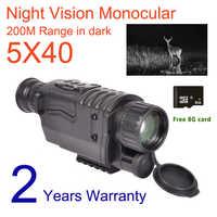 5X40 visión nocturna Digital Monocular infrarrojo 940NM visión nocturna caza alcance con 8G TF tarjeta envío gratis