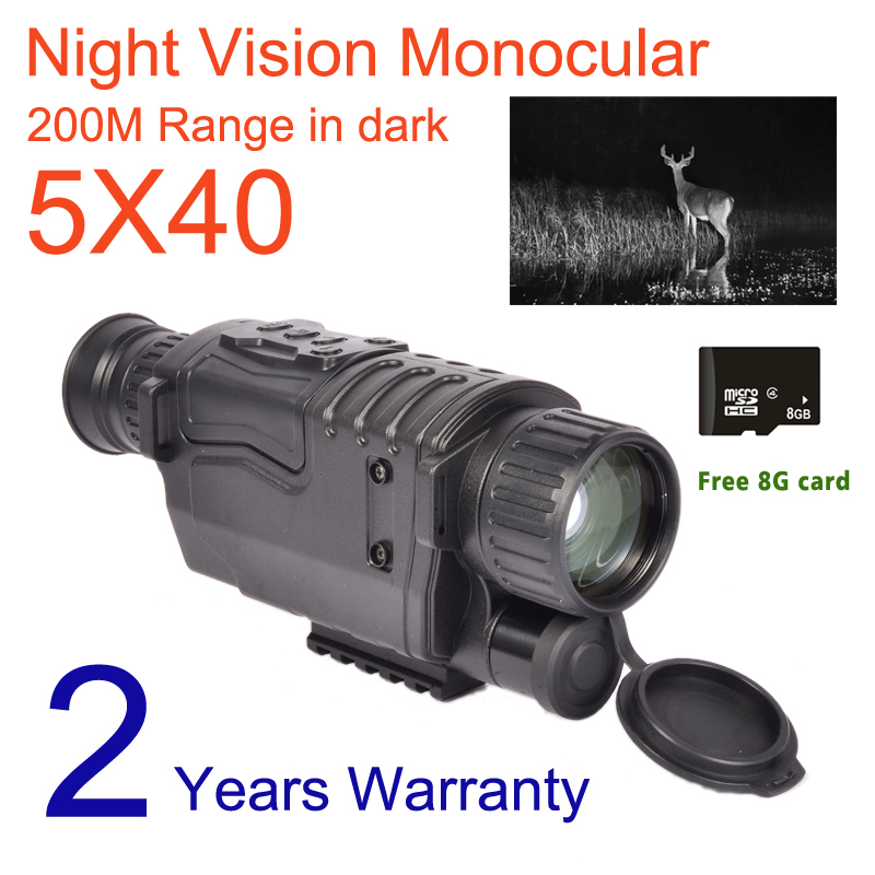 5X40 Digital Night Vision Monocular Infrared 940NM Night Vision Hunting Scope with 8G TF Card Free Ship5X40 Digital Night Vision Monocular Infrared 940NM Night Vision Hunting Scope with 8G TF Card Free Ship