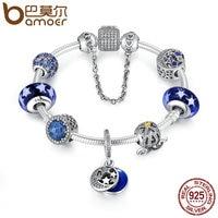 BAMOER 925 Sterling Silver Star Moon Legend Glittering Glass Beads Pumpkin Car Charm Bracelet Sterling Silver