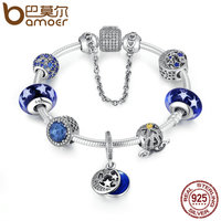 BAMOER 925 Sterling Silver Star Moon Legend Glittering Glass Beads Pumpkin Car Charm Bracelet Sterling Silver