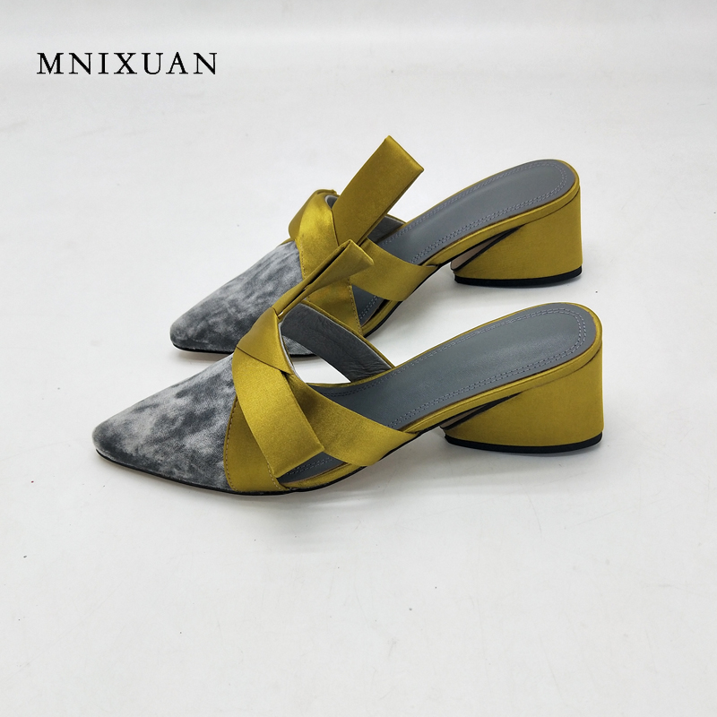 MNIXUAN mules shoes women 2018 summer new fashion ladies slippers sandals suede pointed toe 6cm block high heels big size 34-43 mnixuan women slippers sandals summer