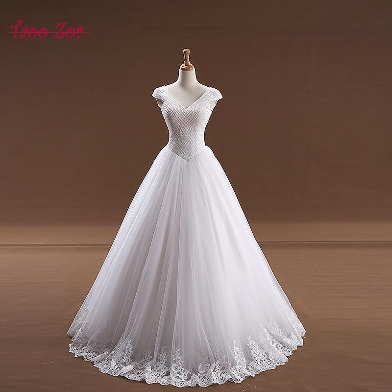 45a2f1e72fb08 Taoo Zor 2017 In Stock A-line Corset Princess Wedding Dresses Sparkly Beaded  Low Back White Ivory Bridal Gowns Vestidos de Novia