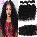 7A Malaysian Virgin Hair Deep Wave With Closure Curly Weave Human Hair 4 Bundles Malaysian Deep Curly Virgin Hair With Closure