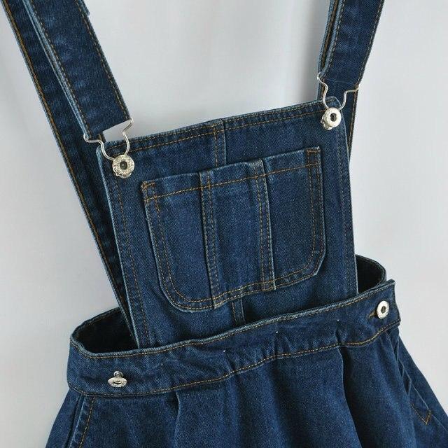 2841f2f600 Summer Women Sleeveless Blue Denim Jumper Dress Pocket Adjustable Jeans Bib  Overall Dress Korean Slim Removable Mini Dresses-in Dresses from Women s ...