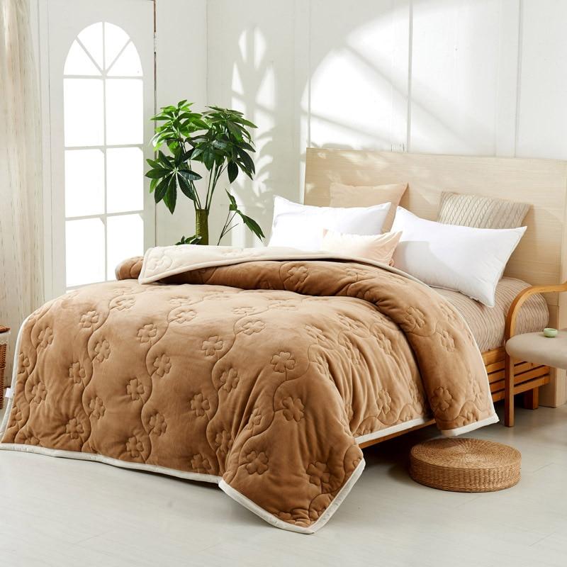 Yovepii утепленные Одеяло Зимние флисовые покрывало 3 слоя фланелевый Утешитель 3.5cm толстые покрывало теплые постельные принадлежности 1 шт. лоскутное одеяло - 4