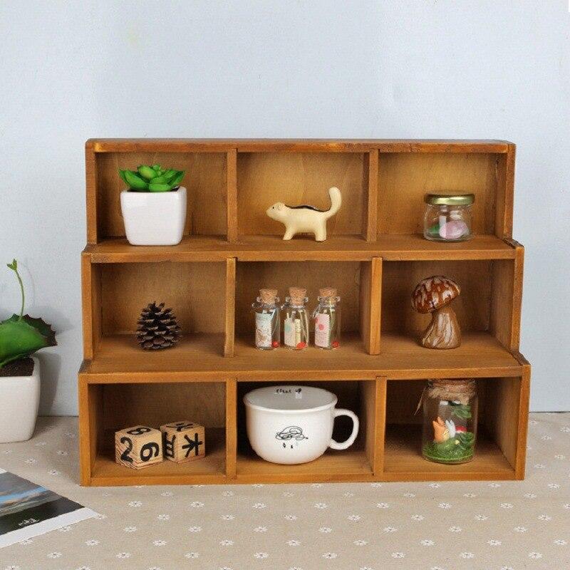 2017 Hot Vintage Retro Wooden Shelf Desk Organization Wooden Storage Tray Wood Hanger Storage Shelf Sundries Box Home Decoration