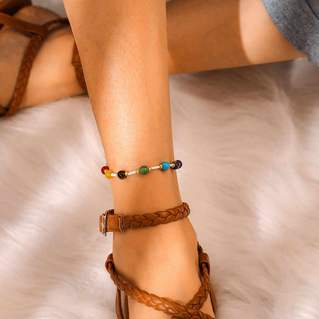 Bohemian Hand-woven Colorful Rice Beads Bead Bracelet Anklet Pendant Anklets 2019 For Women