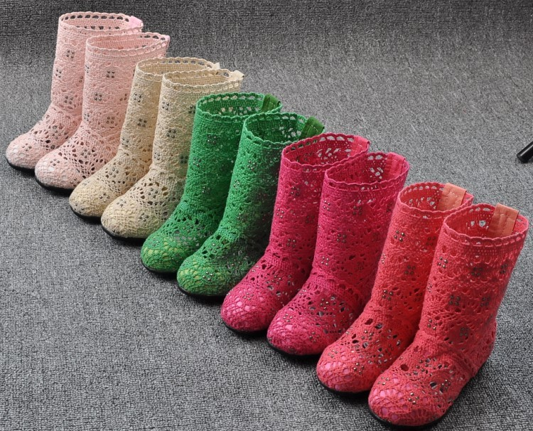 (A241)18 Classical Kids Shoes Summer Girls Boots Knitting Hollow Children Shoes Fashion Network Boots For Girls 31