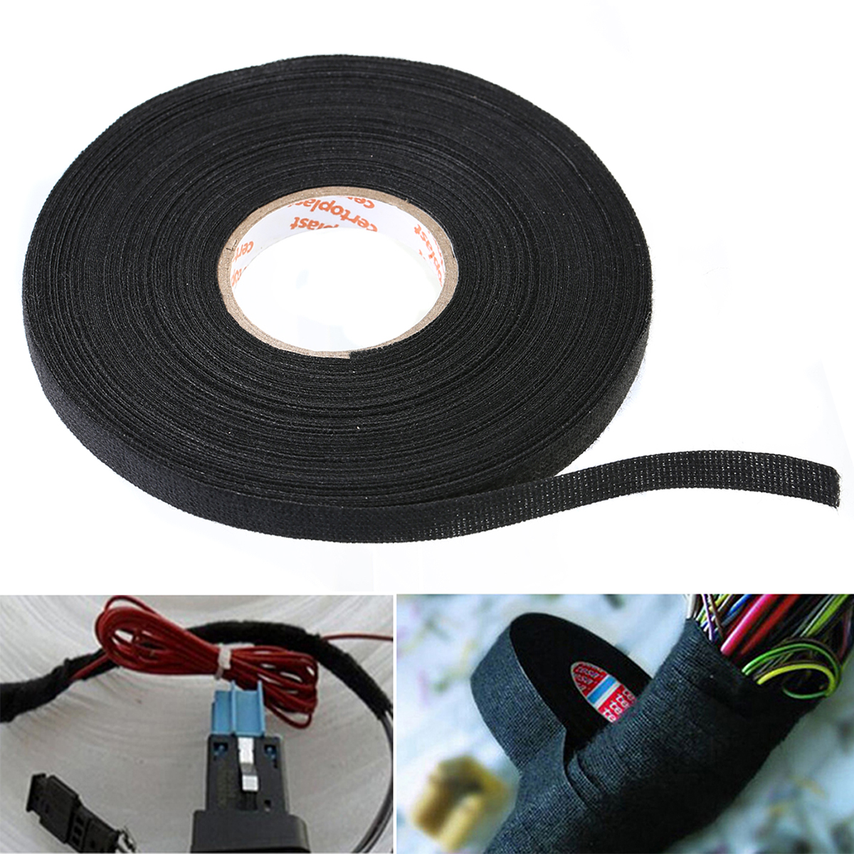 1pc black wiring harness tape adhesive cloth fabric tape cable looms protection 25mx9mmx0 3mm [ 1200 x 1200 Pixel ]