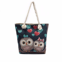 Women Owl Printed Shopping Bag Women Single Shoulder Bag Handbag Lady Large Capacity Linen Casual Tote