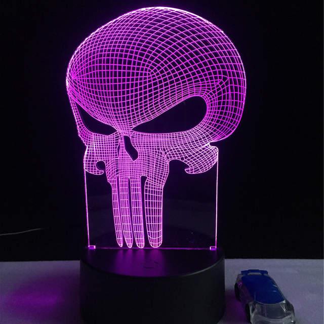 Nouvelle Dent Crane 3d Led Usb Lampe Halloween Punisher Humeur