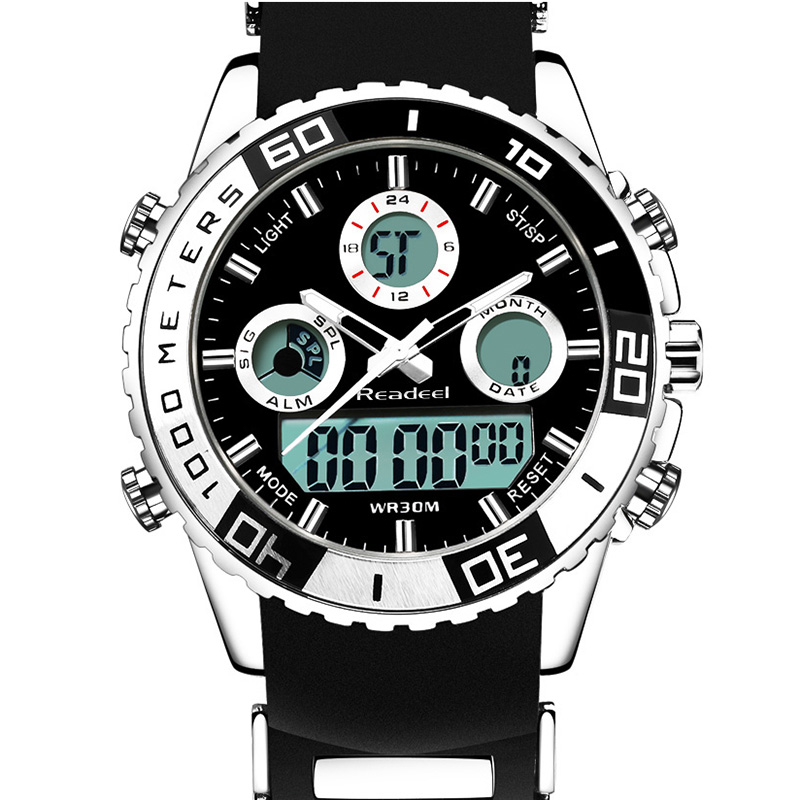 Readeel Fashion Brand Men Sports Watches Led Display Digital Analog Watch Army Military Waterproof Male Clock Relogio Masculino new brand weide men sports watches mens military leather analog digital watch black relogio masculino led army wristwatch clock