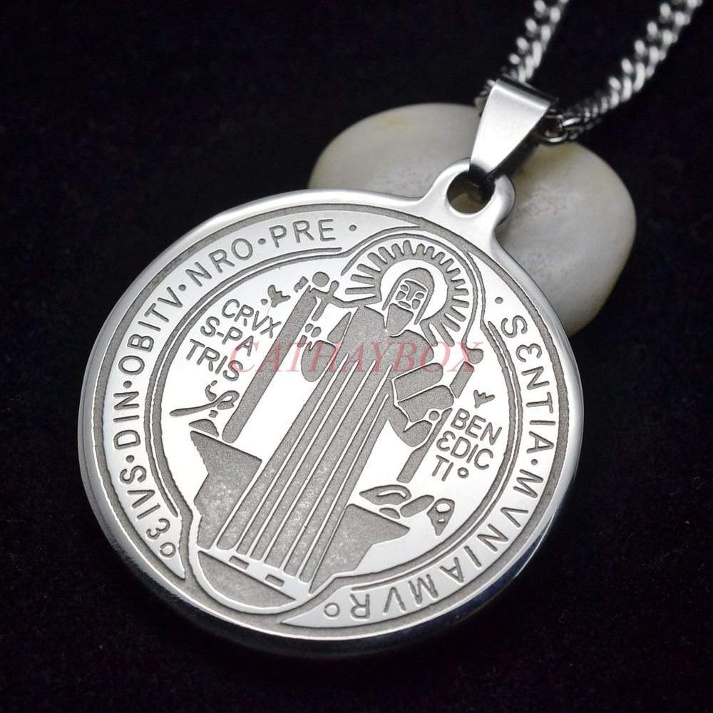 Silver Tone Stainless Steel Patron Saint St Benedict Holy