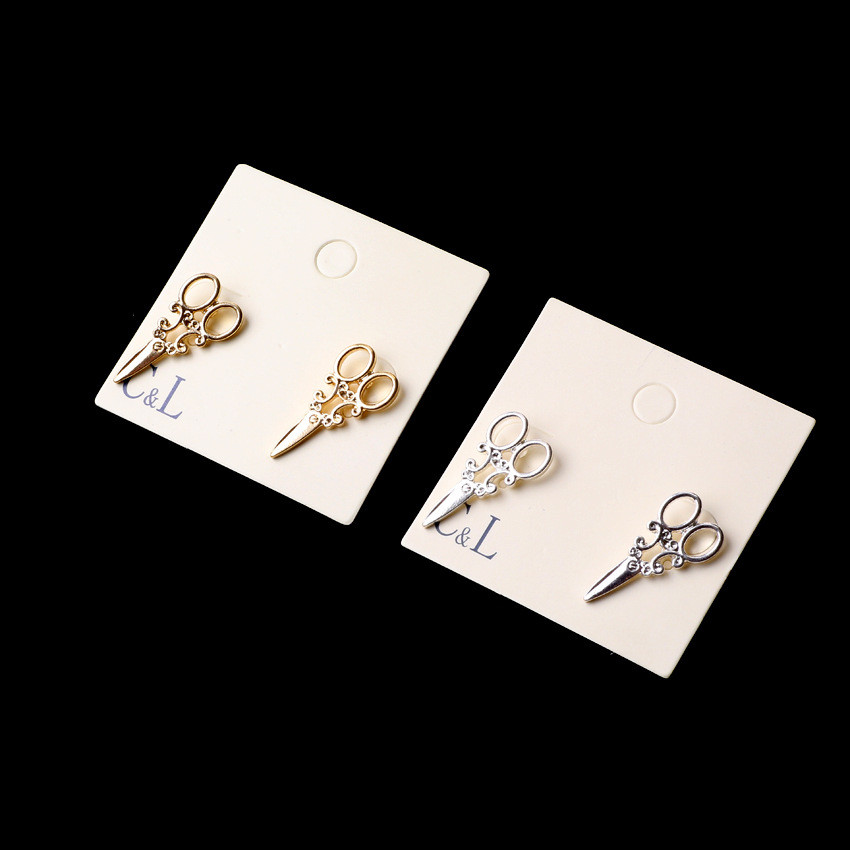 E379 New Arrival Small Simple Gold And Silver Plated Scissor Stud Earrings For Women Fancy Jewelry Wholesale Free Shipping