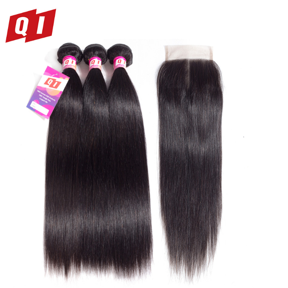 Straight Hair Bundles With Closure Brazilian Hair Weave Bundles Natural Color Bundles With Closure Non Remy