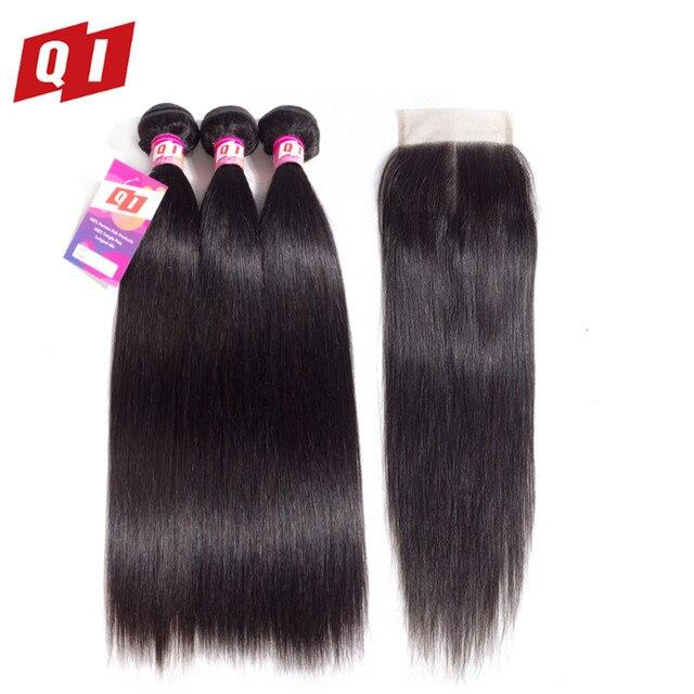 Paquetes de pelo lacio con cierre brasileño cabello tejido paquetes de Color Natural con cierre no Remy extensión de cabello