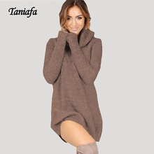 New upgrade! TANIAFA Women Thin sweater Dress Autumn Sexy High Necked Long Sleeve Dress Womens Woolen Knitting Casual Mini Dres