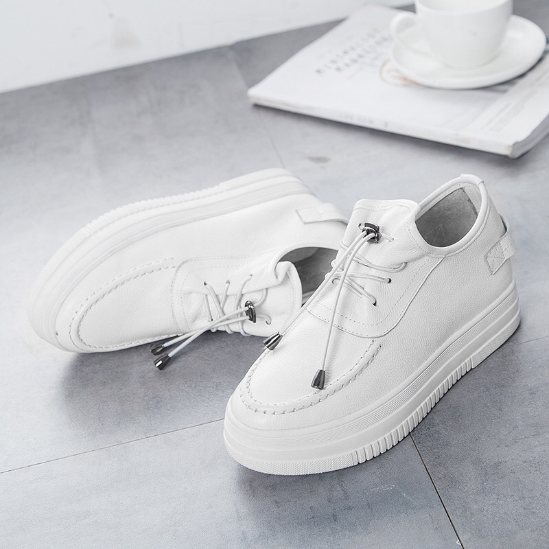 ФОТО 2017 Spring brand new high quality leather hidden heel lace-up small white Women All-match casual shoes