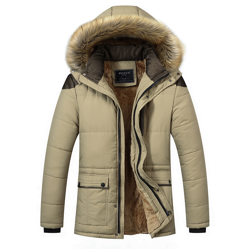 Men s 2017 Autumn Winter Coat Plus Thick Cashmere Long Yards Of Cotton padded Jacket Top