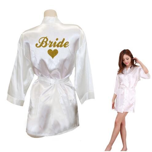 Bride Robe Bride Heart Kimono Golden Glitter Print Robes Wedding Preparewear Gift Bridal Party Faux Silk Satin Dress
