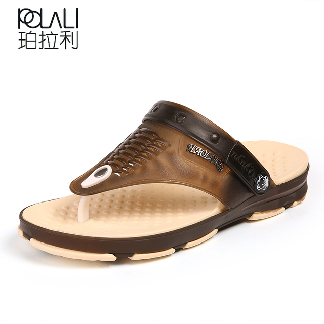 2ca5349fc 2018 Summer Men s Beach Breathable Slippers TPU Garden Mule Clogs Shoes For Men  Male Sandals 41-45