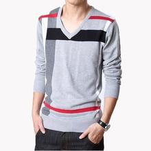 2016 Best Goods Men Stripe Pullover Pattern Lattice V-neck Sweater Slim Thin Bottoming Elastic Sweater High Elastic