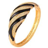 Kpop Bangles Cuff Bracelets For Women yellow Gold Color Jewelry Austrian Rhinestone Jewelry Bangle E073