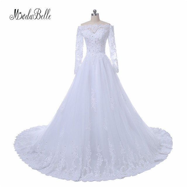 modabelle Civil White Lace Ball Gown Wedding Dresses Long Sleeve Robe De  Mariee 2017 Real Photo Tulle Beaded Bridal Dress 5165d0213b0c