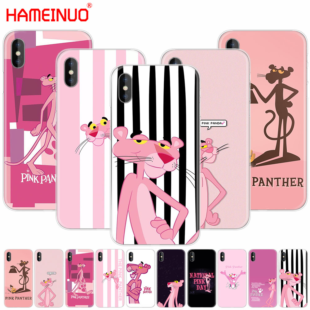 HAMEINUO Pink Panther lovely cell phone Cover case for iphone X 8 7 6 4 4s 5 5s SE 5c 6s plus