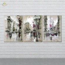 HD Printed 3 Pieces/set Modern Home Decor Abstract Canvas Painting Retro City Street Landscape Pictures Decorative Paintings
