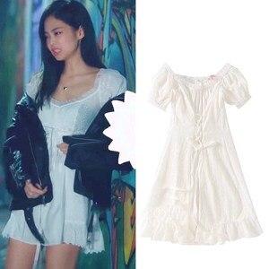 Kpop Blackpink JENNIE même mince un mot épaules blanc robe de fée femmes streetwear doux épaules dénudées robes filles vêtements