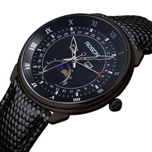 ROSDN Zafiro Multifunción Top Marca Impermeable Relojes Deportivos Hombres Fase Lunar Fecha Cuero Genuino Reloj Ocasional relojes hombre