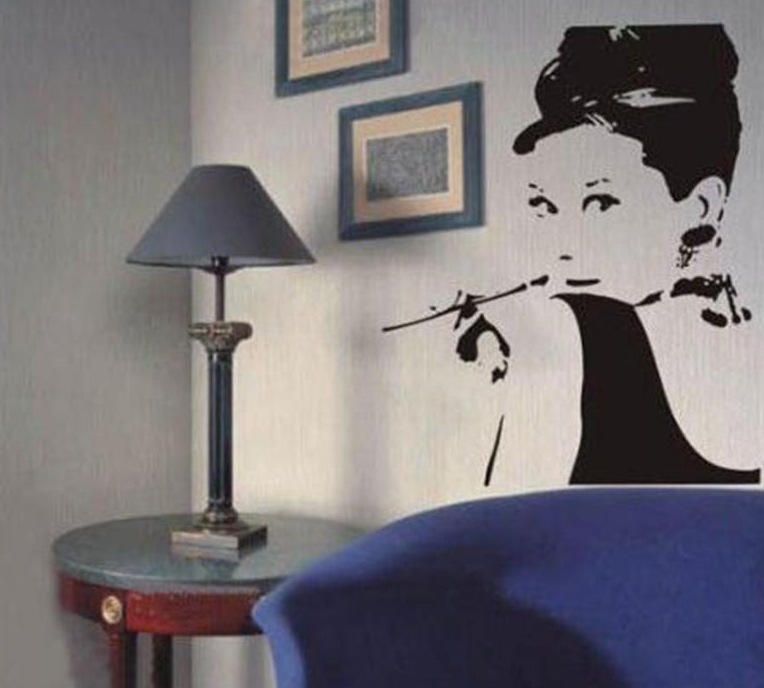 Aliexpress.com : Buy Hot Sale Audrey Hepburn Wall Decal Wall Mural Bedroom  Home Decorations DIY Newest Wall Art Living Room Decor Free Shipping Y 319  From ... Part 70