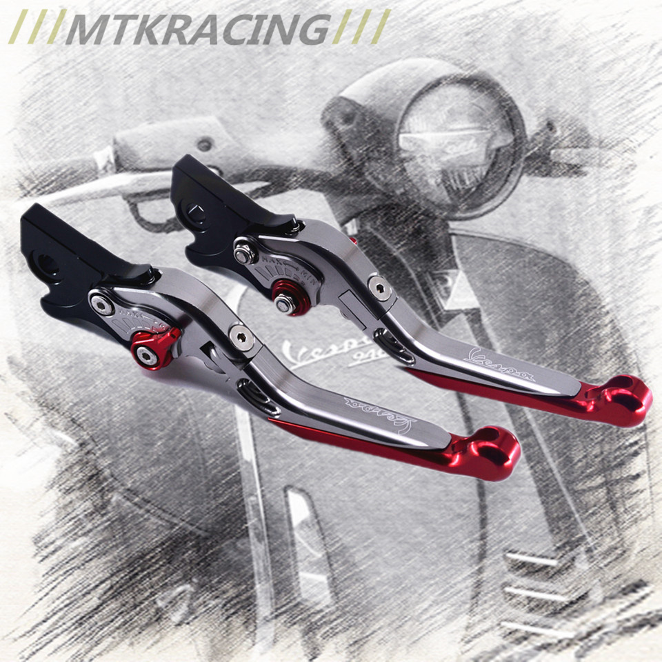 MTKRACING Clutch Brake Levers CNC Adjustable for Vespa Granturismo 125/200 GTS 125/250 S125/S250 2003-2017 cnc adjustable clutch brake levers set short long 2 style 10 colors fit for kymco downtown 125 200 300 350