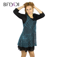 2015 New Arrival V Neck 3 4 Sleeve Belt Twinset T Shirt And Dresses Lace Colorful