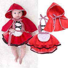 037e90bf87974 かわいい 2 ピースクリスマス新生児ガールズチ赤ずきんフードセットレースファンシードレス + ケープマント衣装