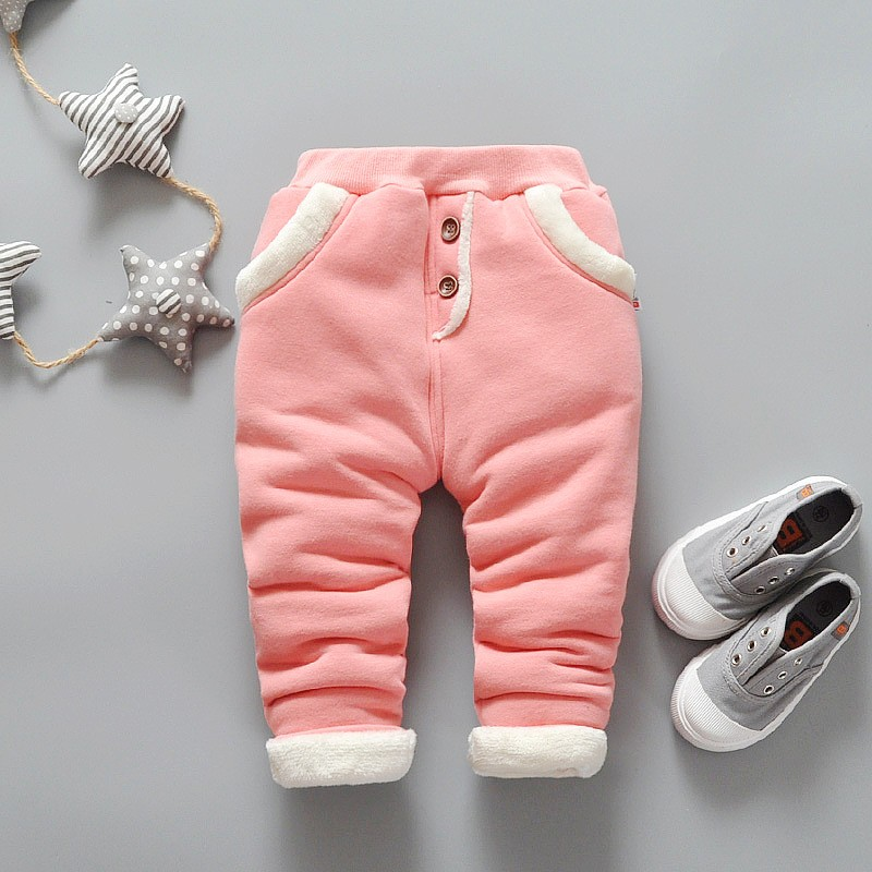 все цены на BibiCola 2017 Baby Warm Pants for Girls children Plus velvet thick leggings Infant Winter Pants newborn leggings casual Trousers онлайн