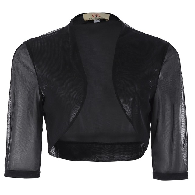 Grace Karin Black Bolero Short Sleeve Chiffon Jackets Wraps Shrug For  Evening Party Women Boleros Cropped