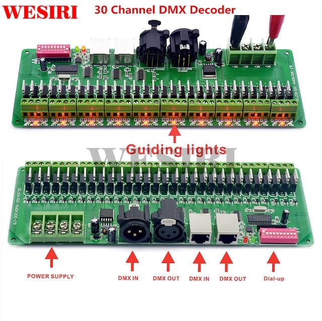 30 kanal DMX 512 RGB Denetleyici 30CH DMX RGB LED Şerit Dekoder Dimmer Sürücü DC9V 24V