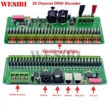 Controlador RGB DMX 512 DE 30 canales, decodificador de tira LED, atenuador, DC9V 24V