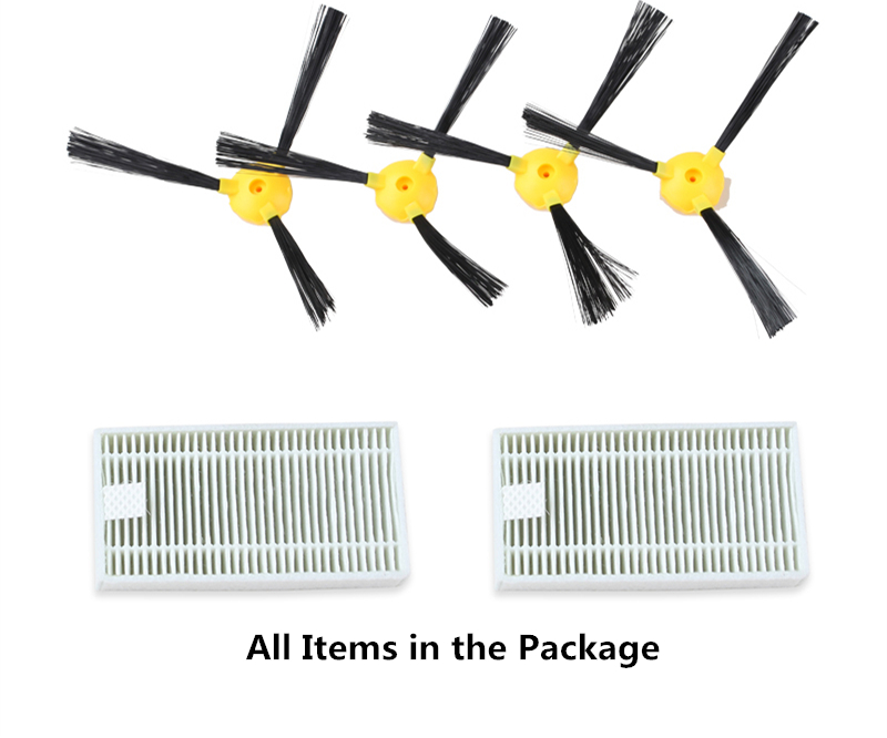 For B6009 Original Spare Parts Pack for Robot Vacuum Cleaner , Including Side Brush x 4pcs + HEPA Filter x 2pcs original robot vacuum cleaner f1 side brush 2 pcs hepa filter and middle brush 1 pc robot mc rs753 mc rs755a mc wrc53 parts