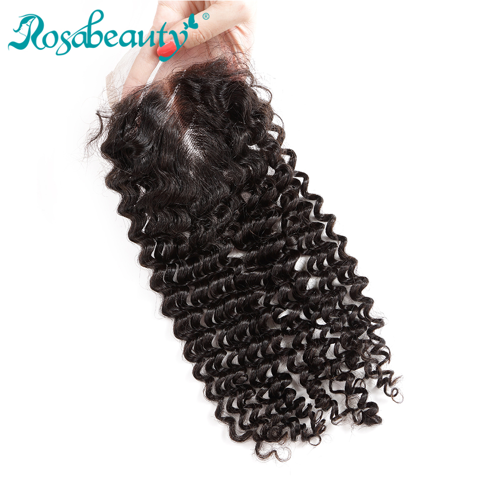 Rosabeauty Human Hair Kinky Curly Closure 4x4 Lace Closure with Baby Hair Brazilian Remy Hair Products