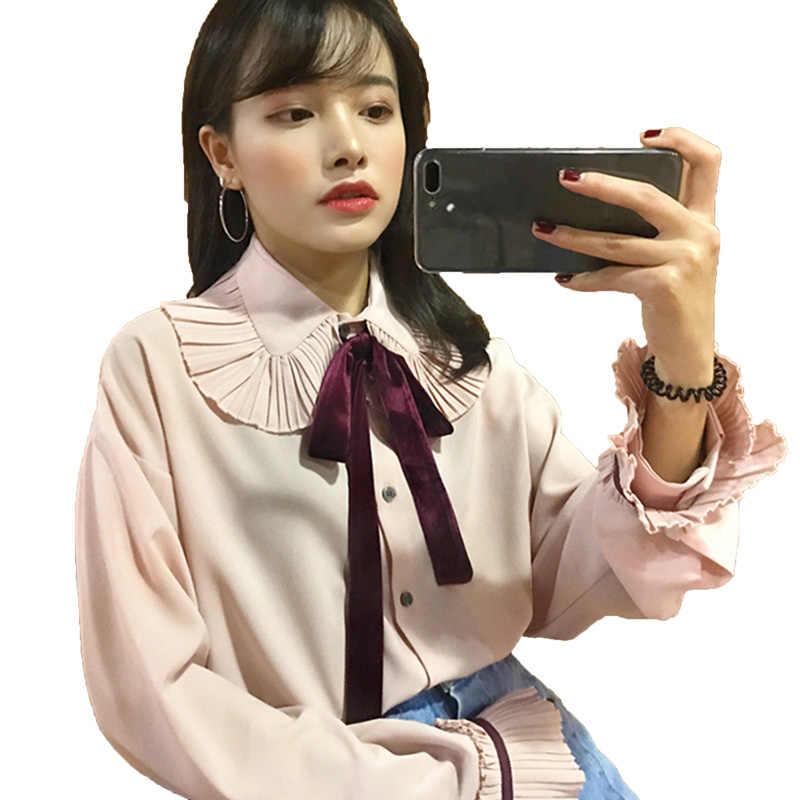 2c3c51b07c6 Женские офисные галстук-бабочка Блузки для малышек Для женщин Динамик  рукавом Кнопка Туника Подпушка Рубашки