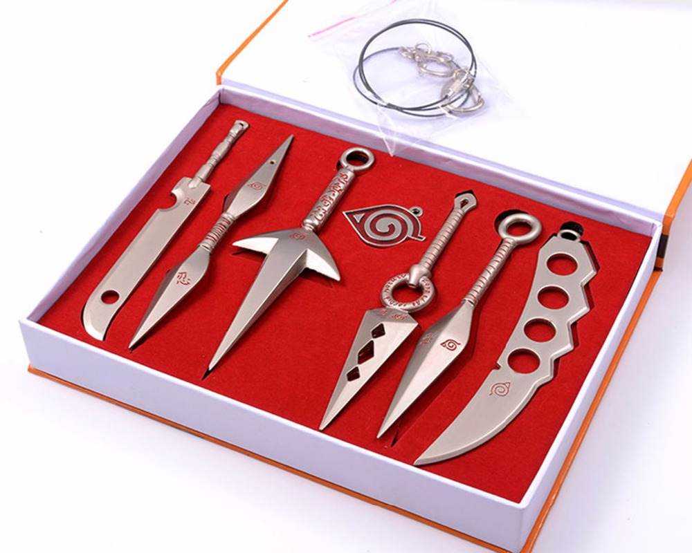 7pcs/set retail Naruto Hatake Kakashi Deidara Kunai Shuriken Weapons Pendant Cosplay boys new year gift Free necklace D keychain