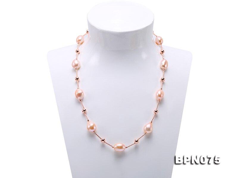 Naturel Baroque Collier de Perles Or Tube AA 12x16mm Rose Perle D'eau Douce Collier 50 cm, femmes Cadeau Bijoux