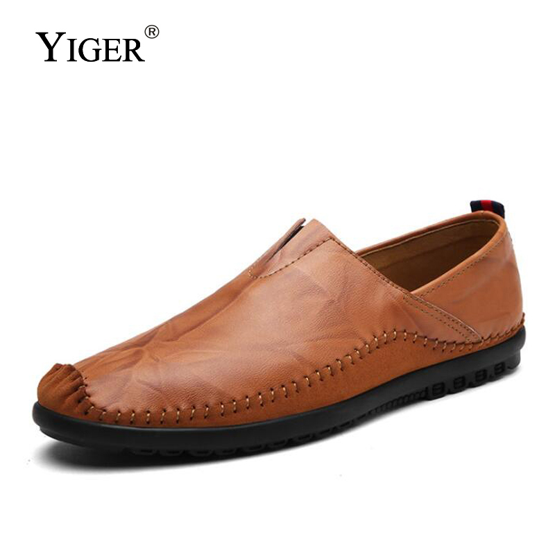 YIGER New Men Loafers Genuine Leather Casual Slip-on Man Driving shoes Leisure Boat Comfortable Free shipping 0127