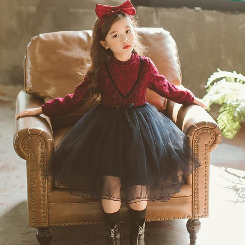 NICBUY Girl's autumn winter dress, 2017 new children add velvet and lace princess fashion dress red blue лонгслив just simple stripe