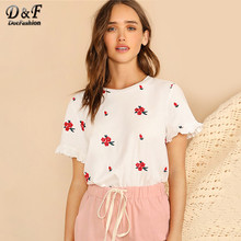 Dotfashion White Embroidery Floral Ruffle Cuff Tee Women Korean Aesthetic Clothes 2019 Summer Elegant T-Shirt Ladies Casual Tops(China)